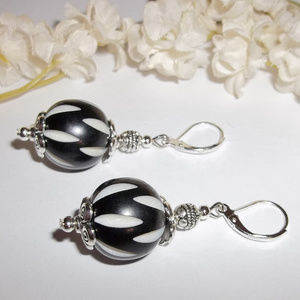 Black and Off White Beaded Earrings Statement 3653